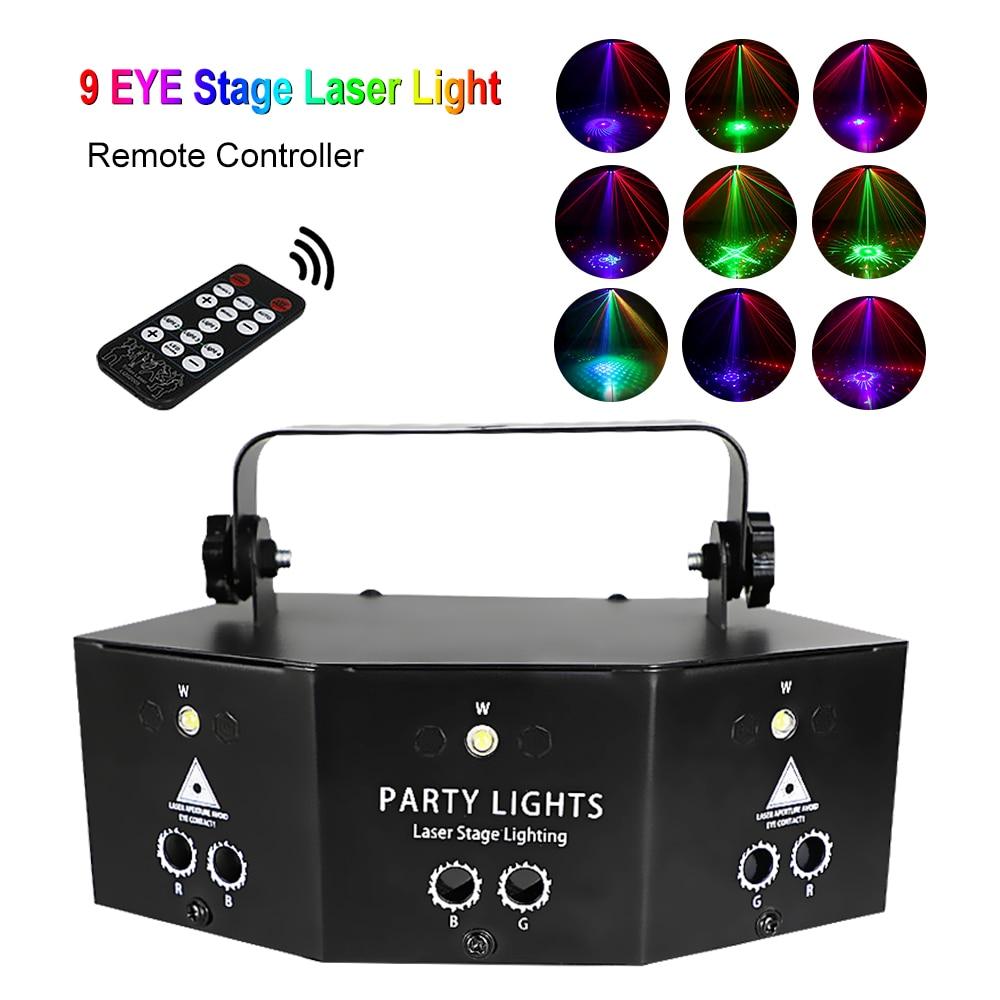 Сценический лазерный прожектор DMX с пультом дистанционного управления, RGB-подсветка для дискотек, вечеринок