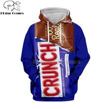 Newest candy Snack bag chocolate sauce 3D Hoodies food Harajuku Men Women Long Sleeve PulloVer Hooded Sweatshirt Casual Brand