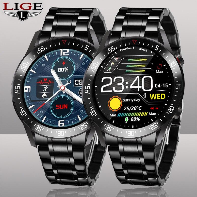 LIGE-ساعة رياضية متصلة للرجال ، سوار فولاذي ، مقاومة للماء IP68 ، متوافقة مع هواتف Android و ios