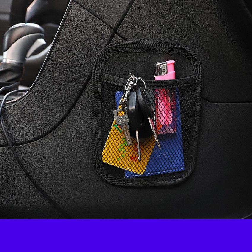 Автомобильный сетчатый Карманный держатель для телефона, сетчатый держатель для автомобильного органайзера, автомобильная сумка для хран...