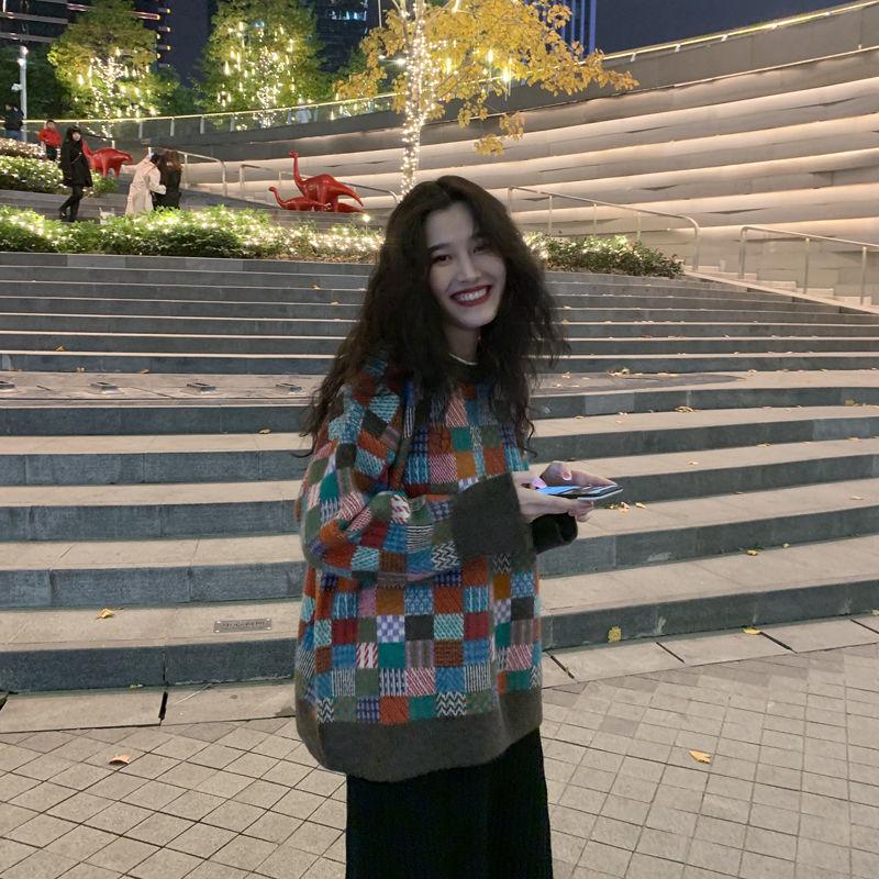 Женский вязаный свитер, модные пуловеры большого размера, женский зимний свободный свитер, женский джемпер в корейском студенческом стиле, ...