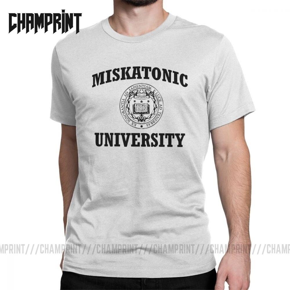 Camiseta de Universidad Miskatonic para hombre, Necronomicon llamada de Cthulhu Cthulu Lovecraft, divertida camiseta de algodón 100%, camiseta gráfica