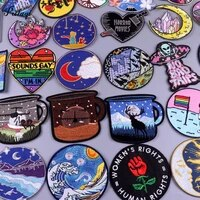 attack on giants wave iron on patches for clothes sticker applique diy clothing badge embrordery patches sewing stripe decorate