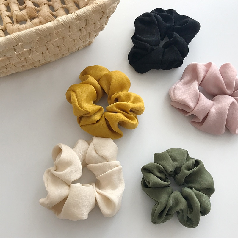 5pcs Set Scrunchies Hair Ring Satin Hair Ties Rope Autumn Winter Women Ponytail Hair Accessories Girls Hairbands Gifts Pack