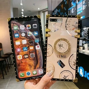 Luxury Bling Square Phone Case for Samsung S20 Ultra Coque S10 Note10 Plus A50 A70 A51 A71 A11 A20S A21s Ring Holder Cover Coque