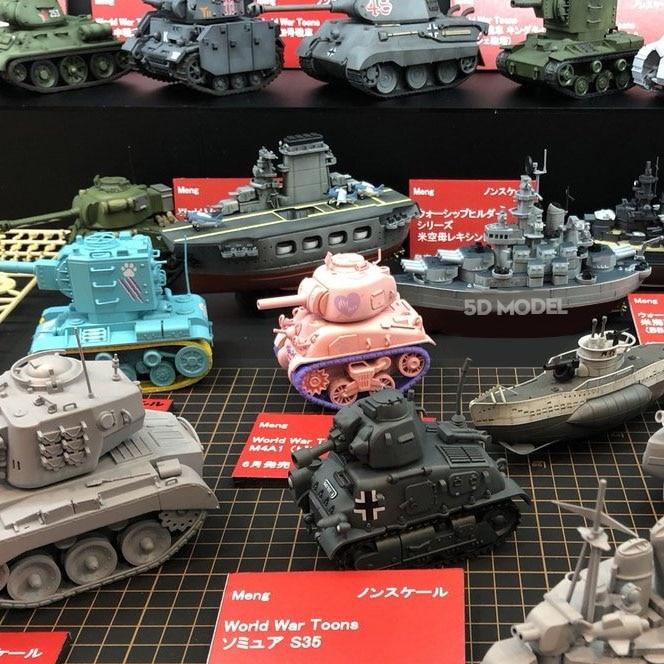 Meng Q WW2 UNS Russische Deutsch M4A1 Sherman König Tiger Panzer T34 KV2 Tank Spielzeug Modell DIY Military sammeln Kunststoff montage Kit