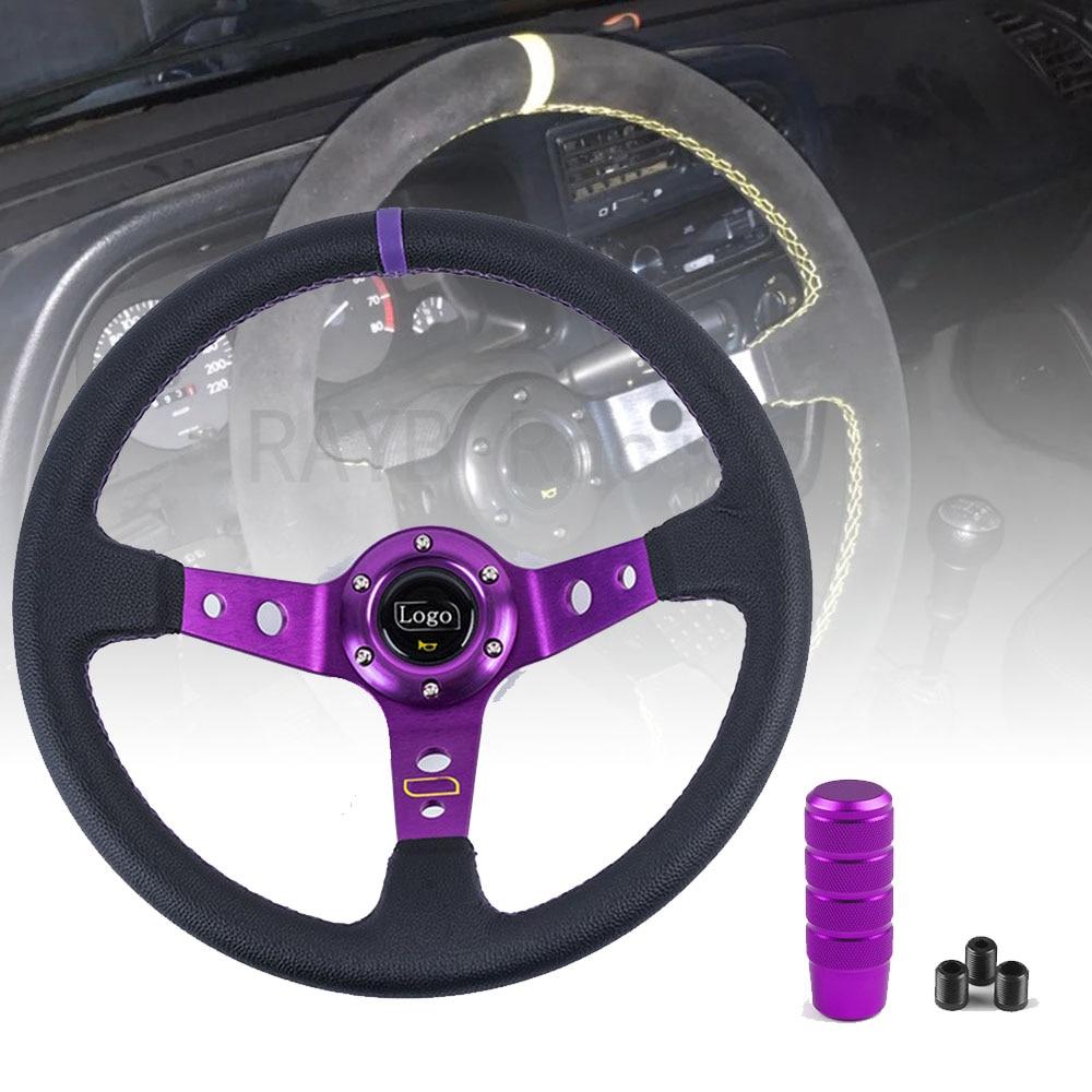 Универсальные автомобильные гоночные рулевые колеса из ПВХ, 14 дюймов, 350 мм, спортивное Рулевое колесо для дрифтинга с ручкой переключения