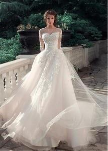 Glamorous Tulle & Satin Bateau Neckline A-Line Wedding Dresses With Lace Appliques Long Sleeves Bridal Dress vestido de noiva