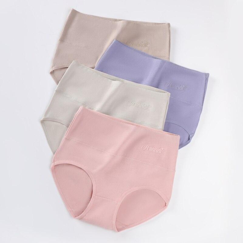 Plus Size 5XL 4Pcs/Set High Waist Panties Women Cotton Underwear Print Body Shaper Seamless Briefs Female Breathable Lingerie