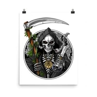 Affiche moderne et squelette de faucheuse imprimee  toile  peinture  Art mural nordique  decor de salon  decor mural de maison  a la mode