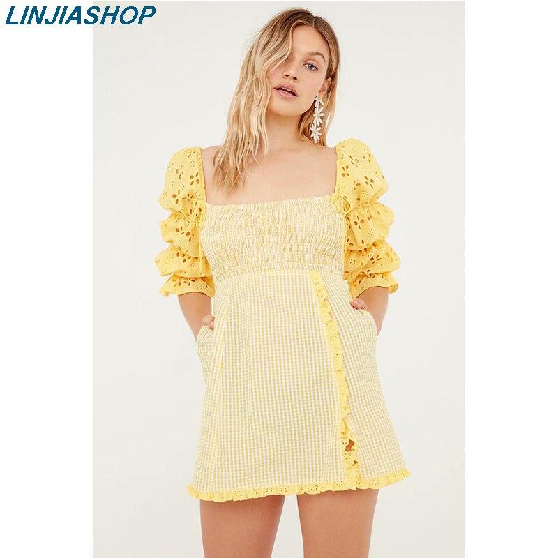 Для любви женское Catamaran жатое платье Желтый квадратный воротник трапециевидной формы с открытой спиной эластичный бюст и талия офисные женские мини-платья