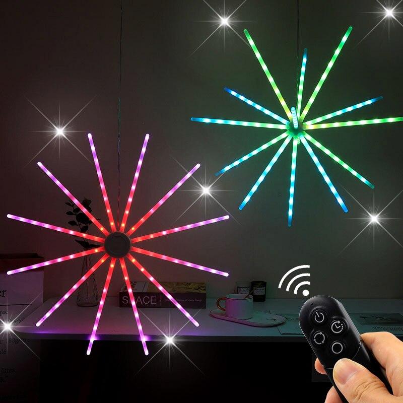 مصباح الألعاب النارية نيزك RGB ضوء سيمفونية ديناميكية عيد ميلاد مصباح حفلة عيد الميلاد التحكم عن بعد ضوء الليل ستروب طاحونة أضواء