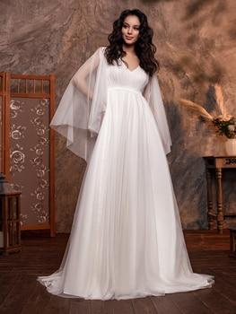 Simple Elegant V-Neck Pleated Chiffon Wedding Bridal Dress Cape Sleeves Open Back A Line Beach Low Cut Bride Gowns Sweep Train