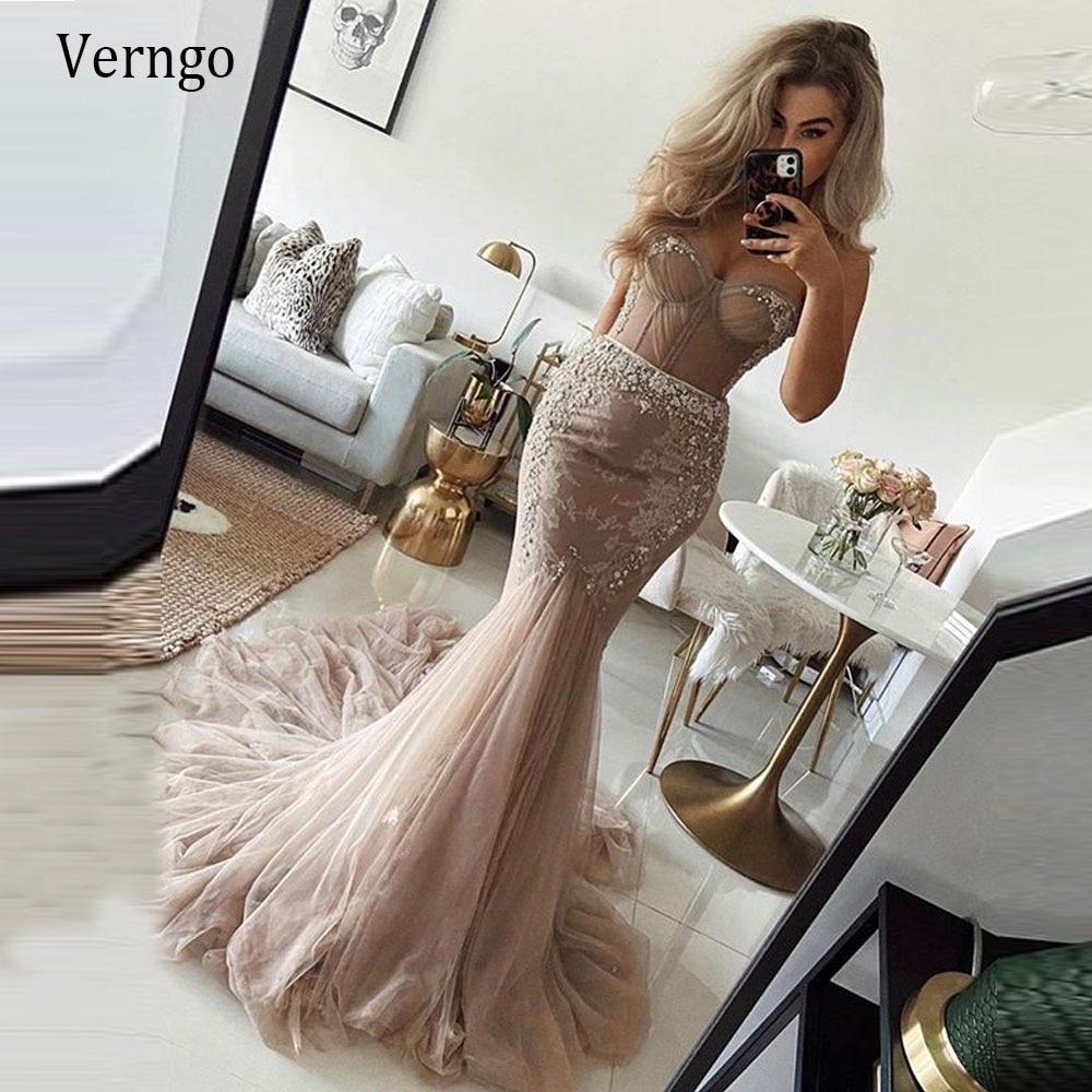 Verngo elegante champanhe sereia vestido de casamento coração forma contas renda tule saia cabida sexy vestidos de noiva longo para o casamento