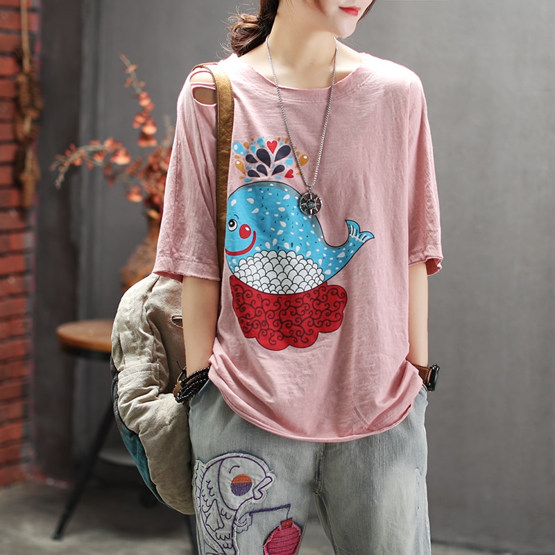 Mujeres verano moda marca Corea estilo Vintage dibujos animados ballena imprimir agujero media manga camiseta femenina Casual suelta Rosa camisetas