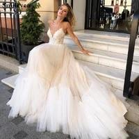 smileven princess wedding dresses 2019 spaghetti strap lace bride gown champagne appliques boho wedding gowns vestido de noiva