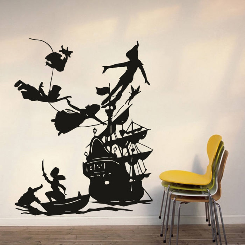 Peter Pan Pirates Ship Wall Decals for Kids room Decoration Boy dream Cartoon vinyl wall Sticker waterproof Home Art Decor 4250