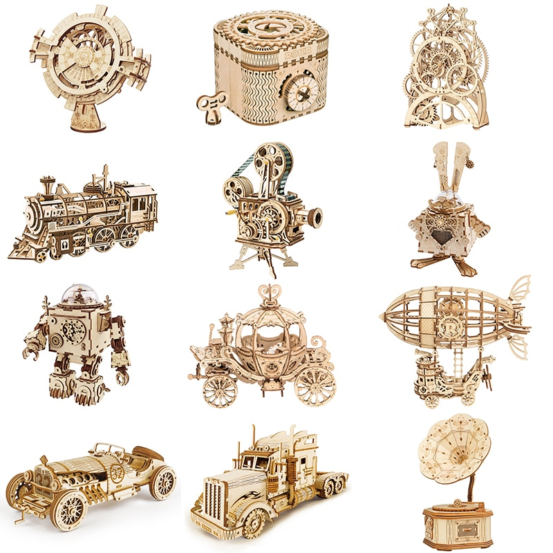 Robotime ROKR DIY 3D Wooden Puzzle Gear Model Building Kit Toys Gift for Children Teens