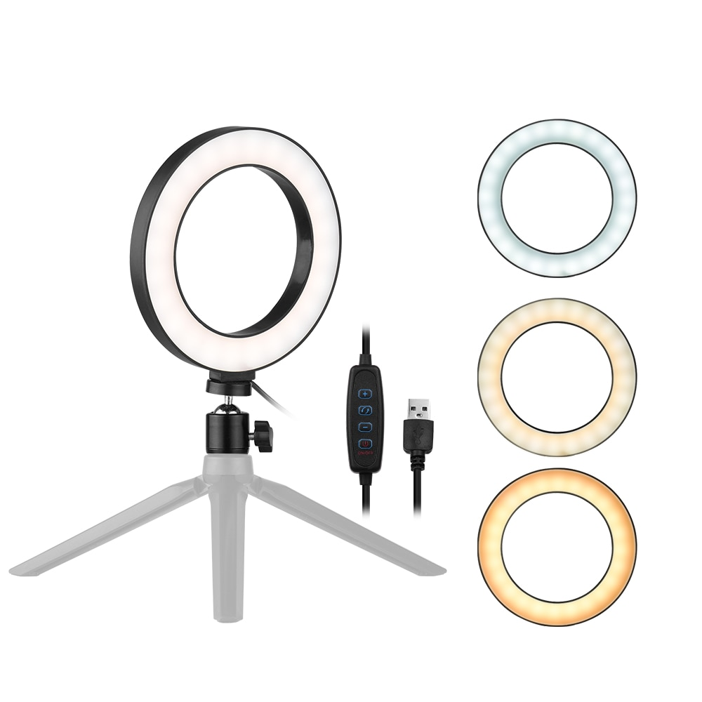 6 Polegada desktop led anel luz pode ser escurecido mini câmera selfie lâmpada 3 modos de luz 10 nível brilho para youtube vídeo ao vivo