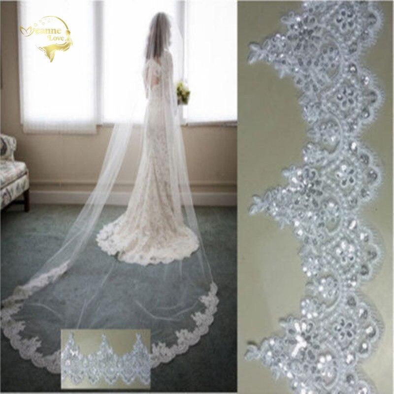 280 cm de comprimento 140 cm largura catedral 1 t casamento véus laço lantejoulas appliqued branco marfim longo voile casamento nupcial acessórios