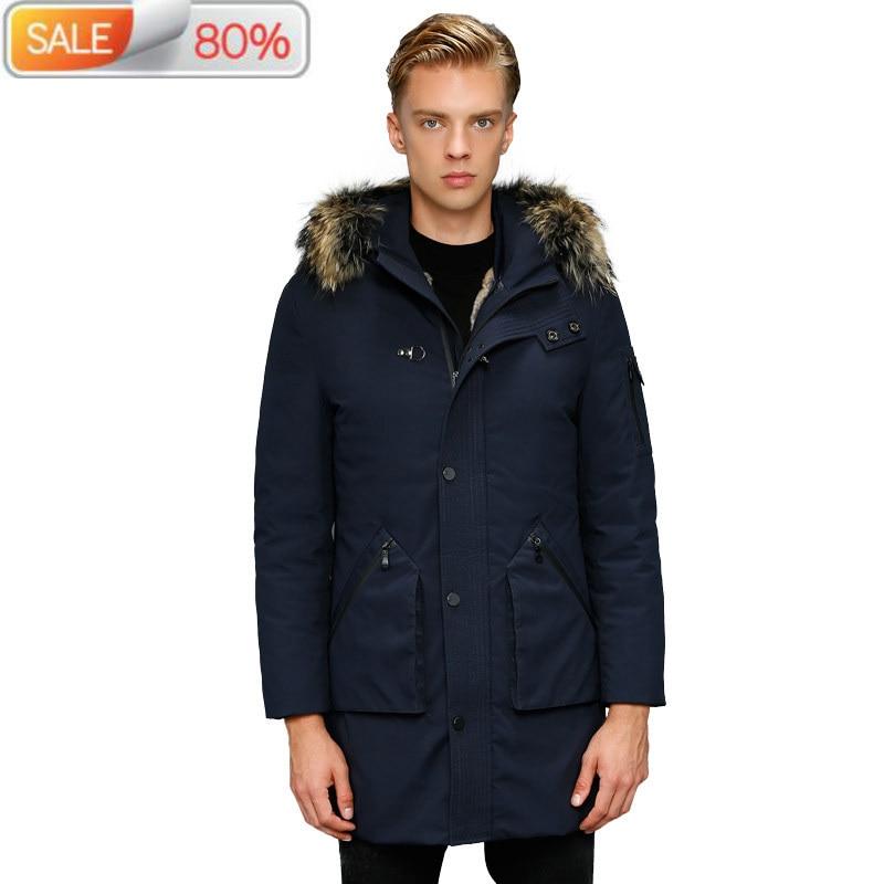 Inverno masculino parka real coelho forro branco ganso para baixo jaqueta de pele de guaxinim gola casaco quente parkas b23102