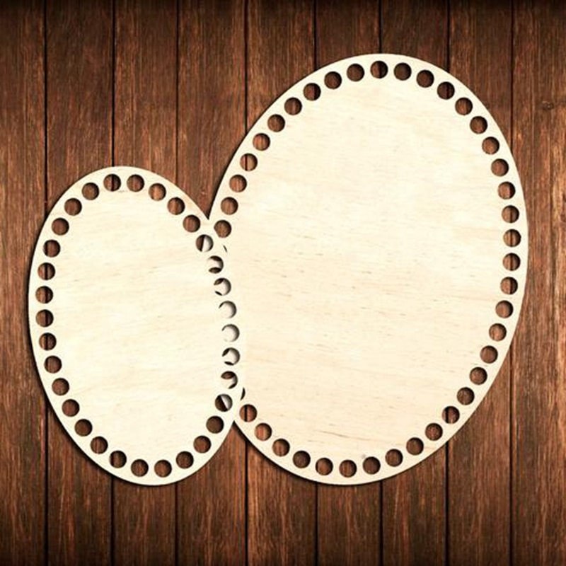 5pcs Wooden Basket Bottombottom base Oval Basket Bottom cutout Unfinished Shapes Drilled wood base Make basket