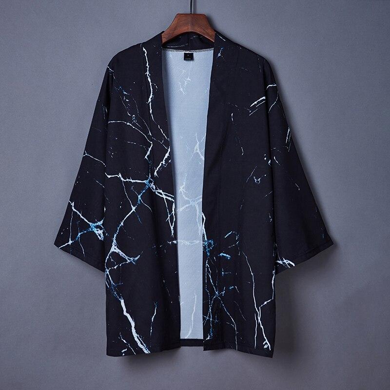 Novedad de moda de Primavera Verano 2020, abrigo negro, Kimono japonés cárdigan, Kimono femenino Haori para mujer y hombre, prenda exterior holgada y fina