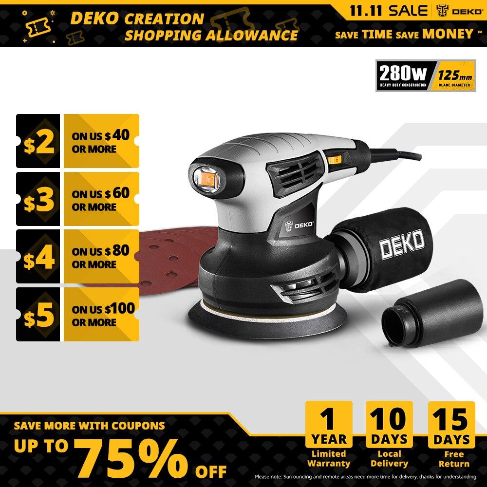 DEKO-صنفرة مدارية عشوائية كلاسيكية QD6206 ، 280 واط ، مع نظام جمع غبار فعال DIY لأعمال الخشب