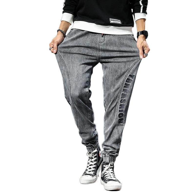 Spring summer new jeans men's Korean elastic waist pants loose casual large size harem pants Harem Pants elastic trousers XXXXXL