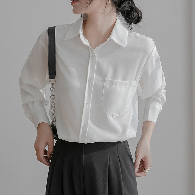 H39b9e137685947a6b5c8721f125cd969m - Spring / Autumn Turn-Down Collar Long Sleeves Solid Pocket Blouse