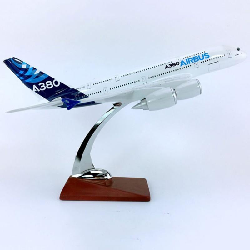 Avión de simulación de 30CM 1250 modelo Airbus AIRBUS A380-800 prototipo de plástico fundido con base de aleación Avión de juguete coleccionable