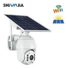 SHIWOJIA 1080p HD Wifi Version Shell Solar Security Camera Outdoor Surveillance Waterproof CCTV Camera Smart Home Two-way Voice