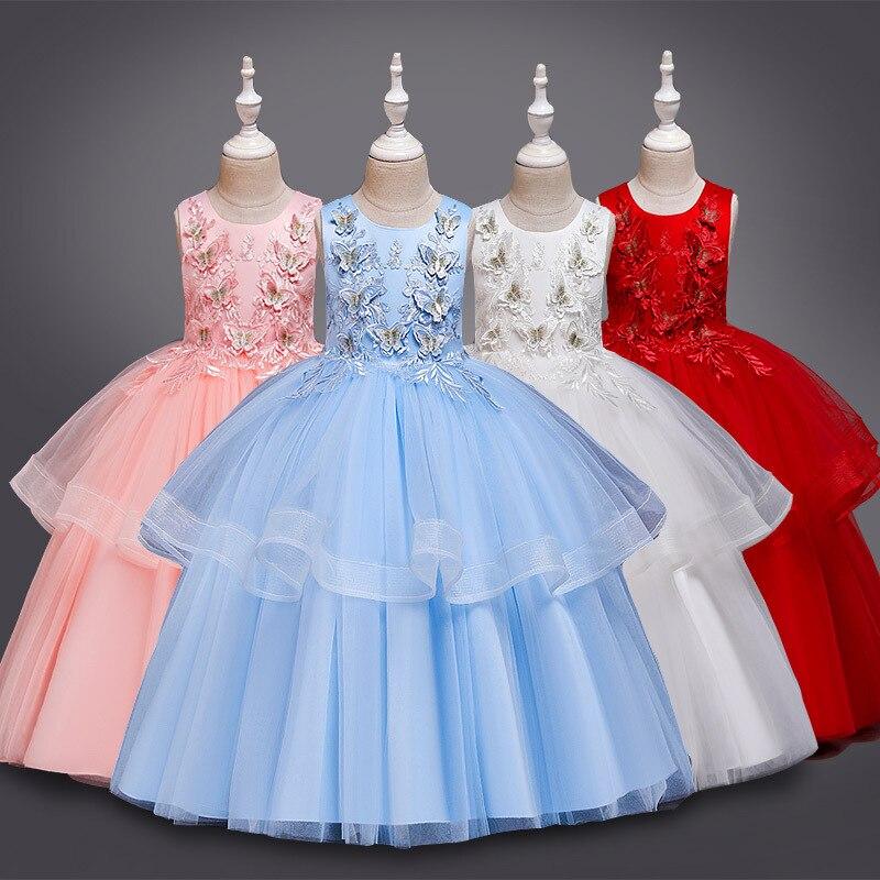 Meninas vestido de princesa vestido formal desempenho wear 2019 verão novo estilo kidsswear colete vestido infantil tutu longo