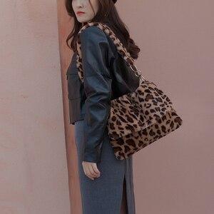 Fashion Leopard Print Crossbody Handbag Women Plush Soft Casual Shoulder Bags Female Messenger Shopping Tote Bag Bolsas Feminina