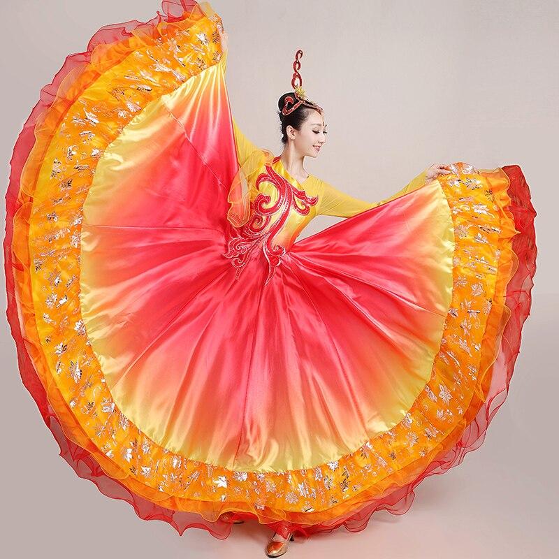 فستان رقص الفلامنكو ، تنورة غجرية للنساء ، أرجوحة كبيرة ، أزياء رقص إسبانية أنيقة للأداء المسرحي VO1049