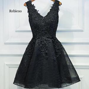 Evening dress  black short design the banquet dress one-piece dress V-neck plus size women short evening dresses