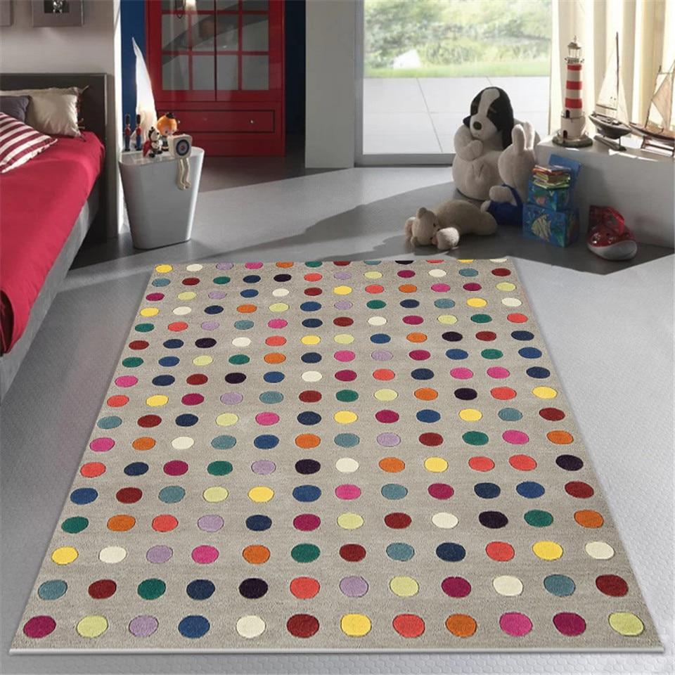 Wishstar-سجادة ملونة ، رمادي ، عصري ، نقطة متموجة ، لغرفة الأطفال ، غرفة المعيشة ، غرفة النوم ، للبنات