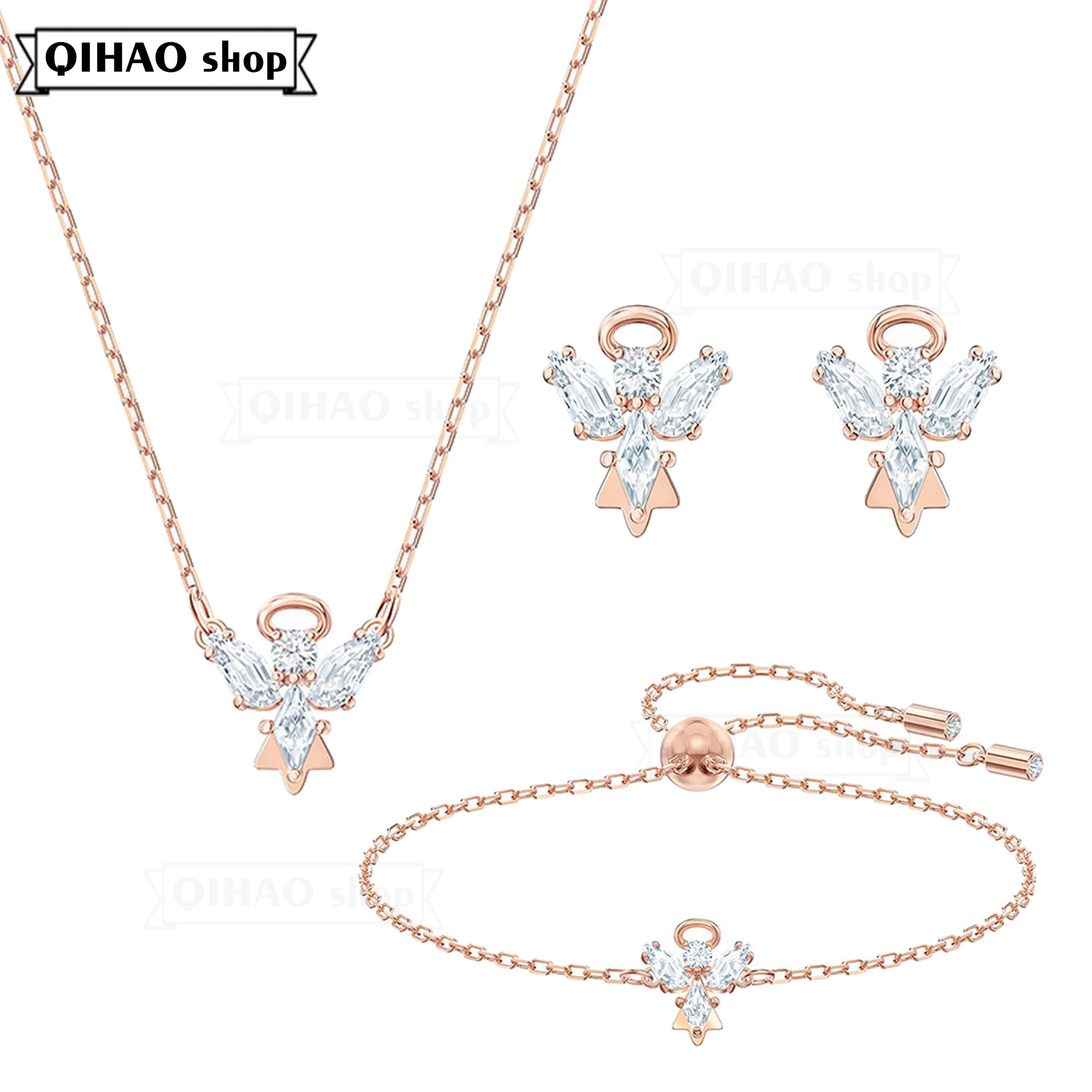 SWA Fashion Jewelry High Quality 2021 New Angel Wing Exquisite Crystal Charm Women's Pendant Necklace Romantic Gift