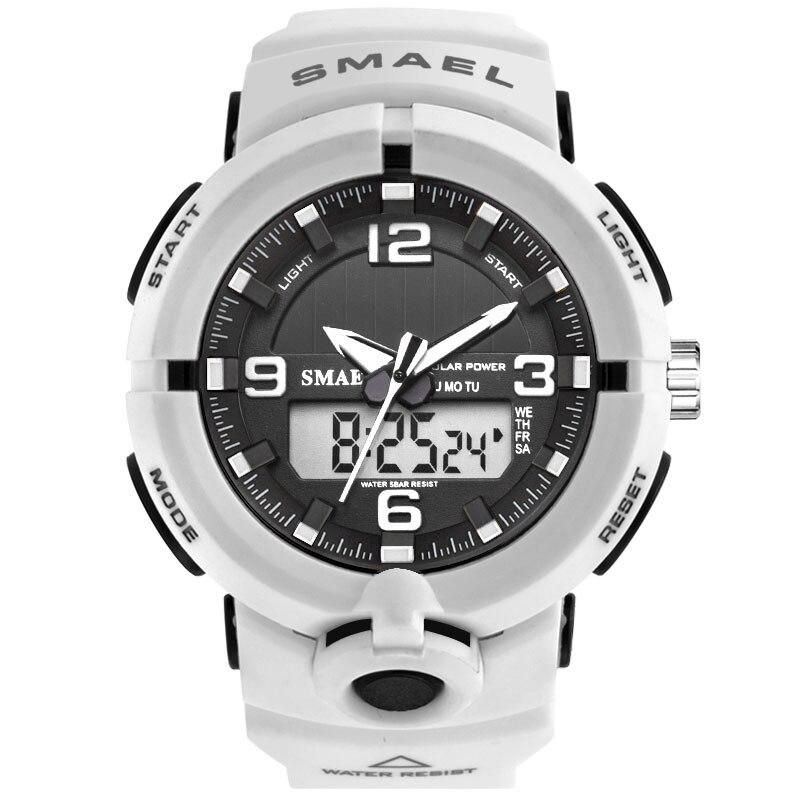 Reloj de hombre SMAEL, reloj deportivo blanco con LED Digital de 50M, resistente al agua, reloj informal S Shock para hombre, reloj masculino 1509
