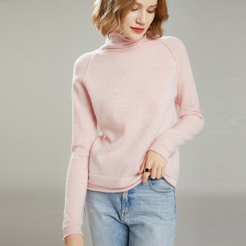 MeetMetro Women Turtleneck Sweater 35%Cashmere Pullover Women Autumn Slim Wool Sweaters Knitted Sweater Jumpers Long Sleeve Tops enlarge