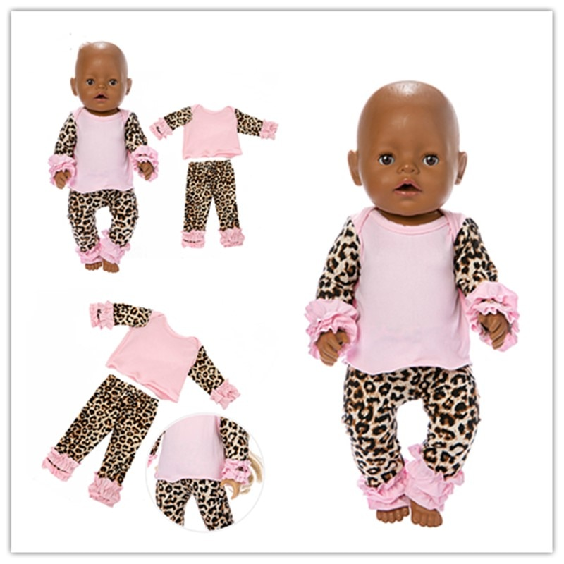 Fit 18 inch 43cm Doll Clothes Accessories Born New baby Leopard Print Suit Clothes For Baby Festival