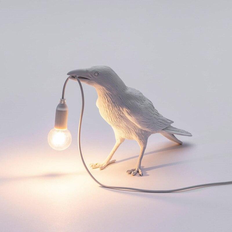 Modern Nordic Resin Bird Table Lamp Italian Bird Lamp Crow Desk Lamp Free shipping for Living Room Bedroom Dining Room Light