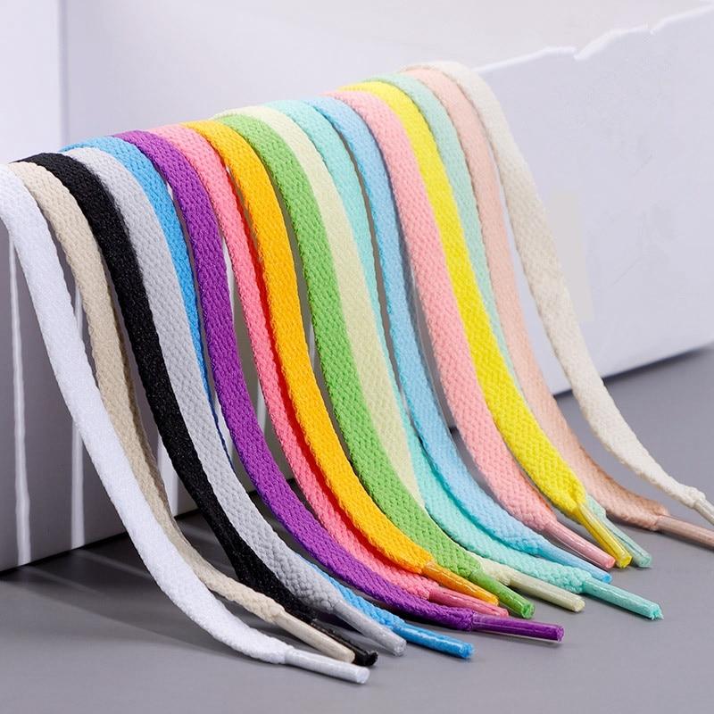 1Pair 36colors Flats Shoelaces Classic Shoe Laces Off Sneaker White Sports Men Women Children Shoela