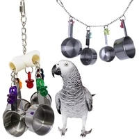 2021 parrot toy stainless steel 4 pots string bird chewing bite toys pet supplies bird cage pendant decor bird supplies
