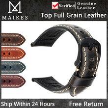 MAIKES-Correa de reloj, accesorios de reloj de pulsera de 20mm, 22mm, 24mm, correa de reloj de cuero de vaca Vintage para Panerai Fossil