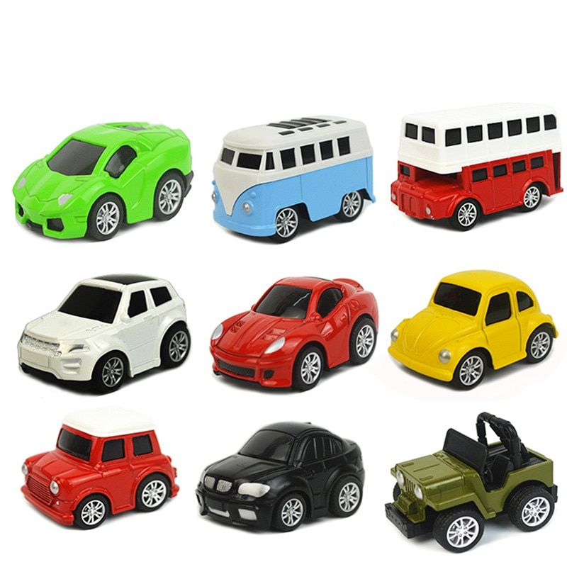 Baby Kids Toy Alloy Car Boys and Girls Mini Cartoon Pullback Model Classic Toys Vehicle Sets Bus Vintage Cars Children Gift