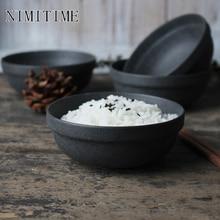 NIMITIME Ceramic Matte Black Rice Bowl Japanese Style Retro Reaction Flame Household Small Kitchen Season Bowl Tableware