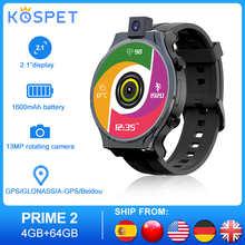 "KOSPET PRIME 2 Smartwatch Men 4G Android 10 Watches Phone 4GB 64GB Smartwatch 2020 GPS 13MP Camera 1600mAh 2.1"" Man Watch"