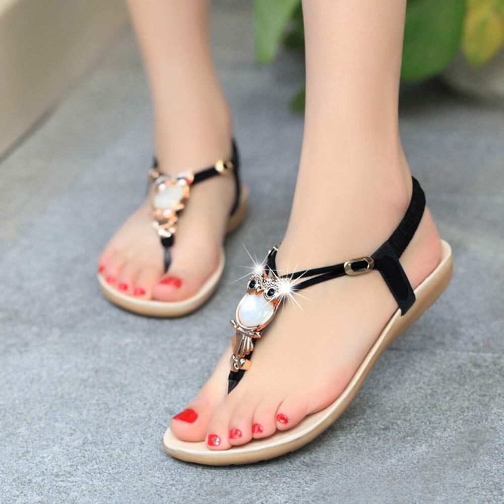 Sandalias de verano para Mujer, sandalias dulces con diamantes de imitación de búho, Zapatos de punta con Clip, cuñas, Zapatos de playa, Zapatos de fiesta para Mujer