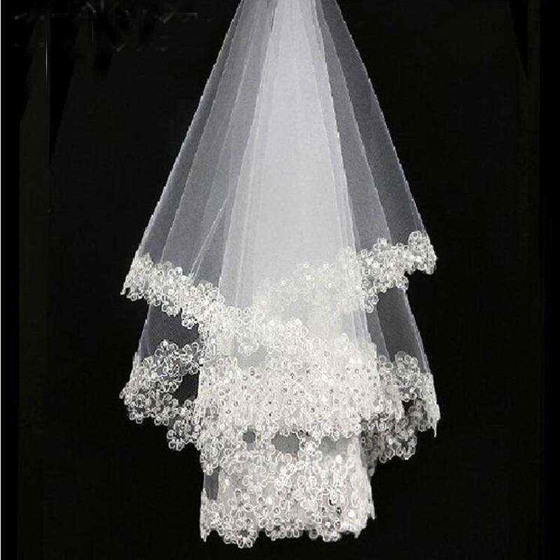 Balta 1,5 m nėrinių aplikacijos krašto nuotakos vestuvių šydai nuotakos šydų vestuvių aksesuaras